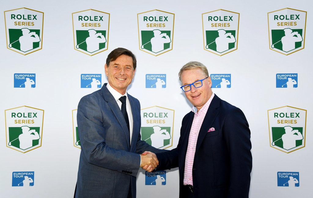 Руководитель European Tour Кит Пелли (справа) и главой партнерских программ Rolex Global Лореном Деланей (слева)