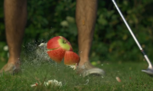 Гольф яблоками (замедленная съемка)