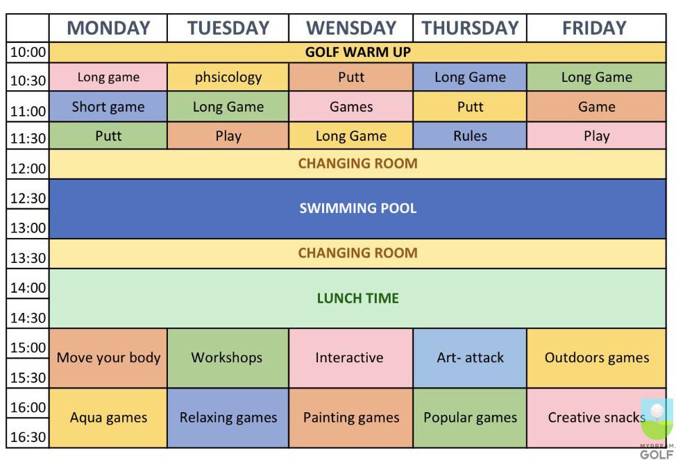 Расписание занятий в Sergio Garcia Junior Academy на 2017 год